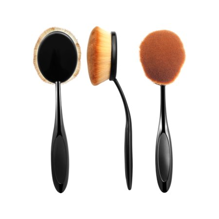 Zodaca Large Head Oval Cream Puff Cosmetic Toothbrush Shaped Powder Makeup Foundation Brush - Black/Brown
