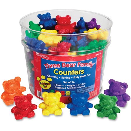 Learning Resources Three Bear Family Rainbow Counters, 96 Pieces