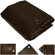 White Duck Heavy Duty Poly Tarp Cover 16 mil Waterproof Brown Canopy - UV & Weather Resistant Tarpaulin for Outdoors, Camping and Agriculture
