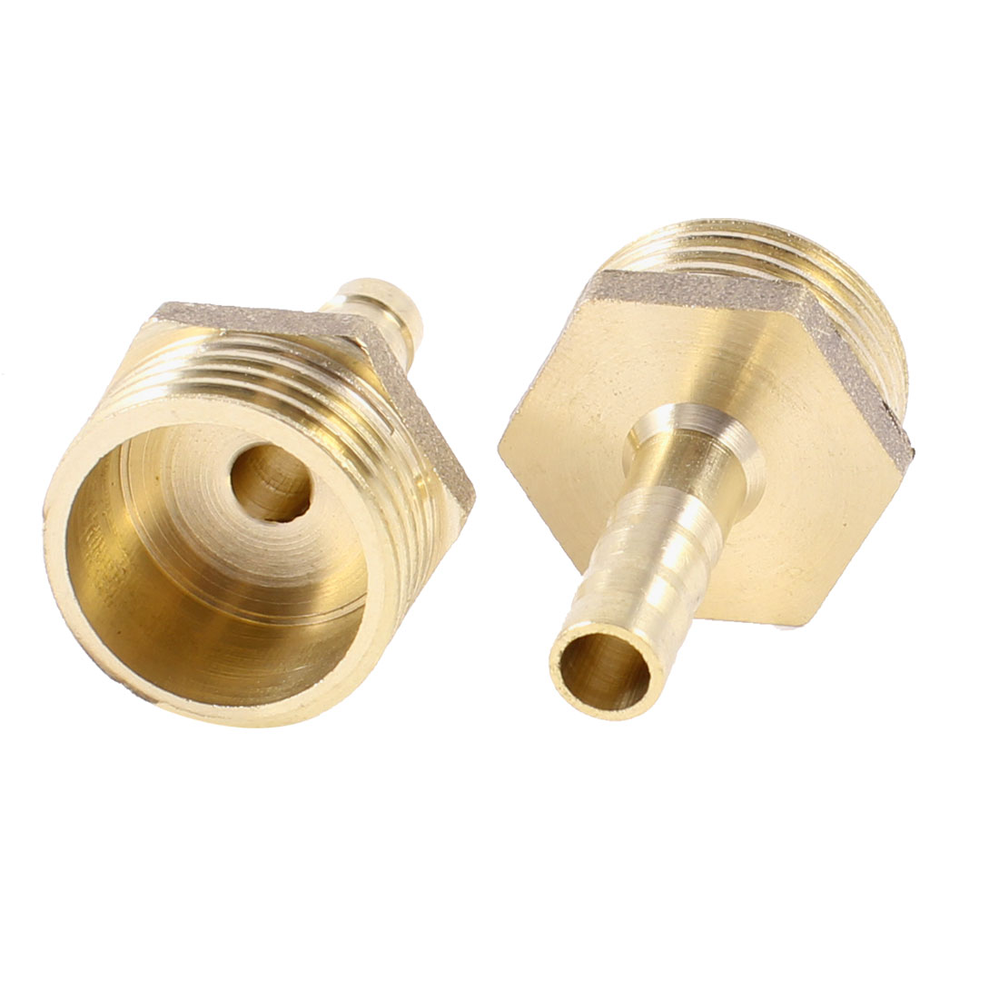 "Unique Bargains 2PCS Brass 6mm Hose Barb to 1/2""PT Male Thread Pneumatic Connector Couplers"