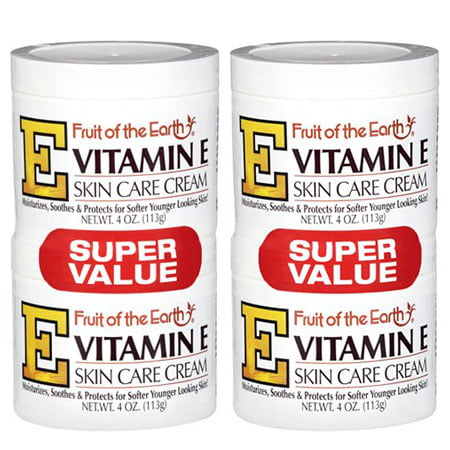 (4 Pack) Fruit of the Earth Vitamin E Skin Care Cream Super Value, 4 oz, 2 pack