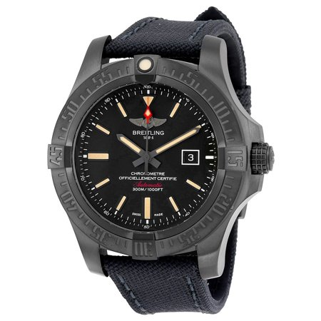 Breitling Avenger Blackbird Black Dial Canvas Military Strap Automatic Mens Watch Breitling Black Wrist Watch