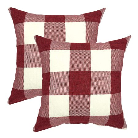 Tayyakoushi Daily Decorations Sofa Cushion Covers Zippered Classic Retro Farmhouse Buffalo Tartan Checkers Plaid Cotton Linen Throw Pillow Cover Pillowcase 18 x 18 Inch, Set of 2, Red White](Farm Decorations)