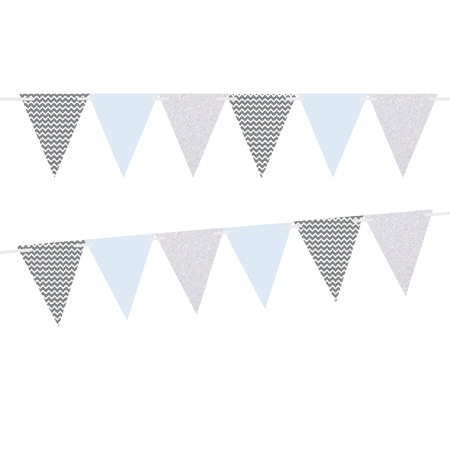 Grey Chevron/Solid Light Blue/White Glitter 10ft Vintage Pennant Banner Paper Triangle Bunting Flags for Weddings, Birthdays, Baby Showers, Events & - Baby Shower Events