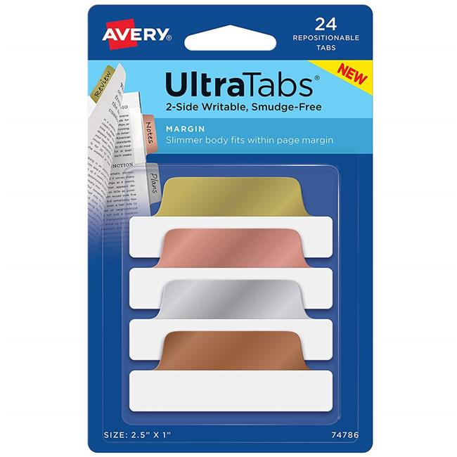 Avery Dennison 74786 2.5 x 1 in. Ultra Tabs Repositionable Margin Tabs, 24 per Pack