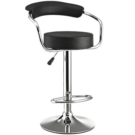 Hawthorne Collection Adjustable Swivel Bar Stool in Black