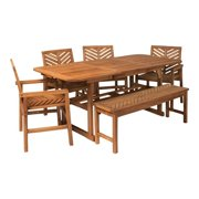 6-Piece Extendable Outdoor Patio Dining Set - Brown