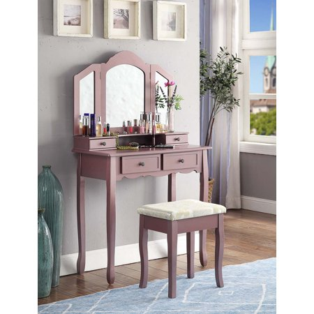Roundhill Furniture Sanlo Make Up Vanity Table and Stool -