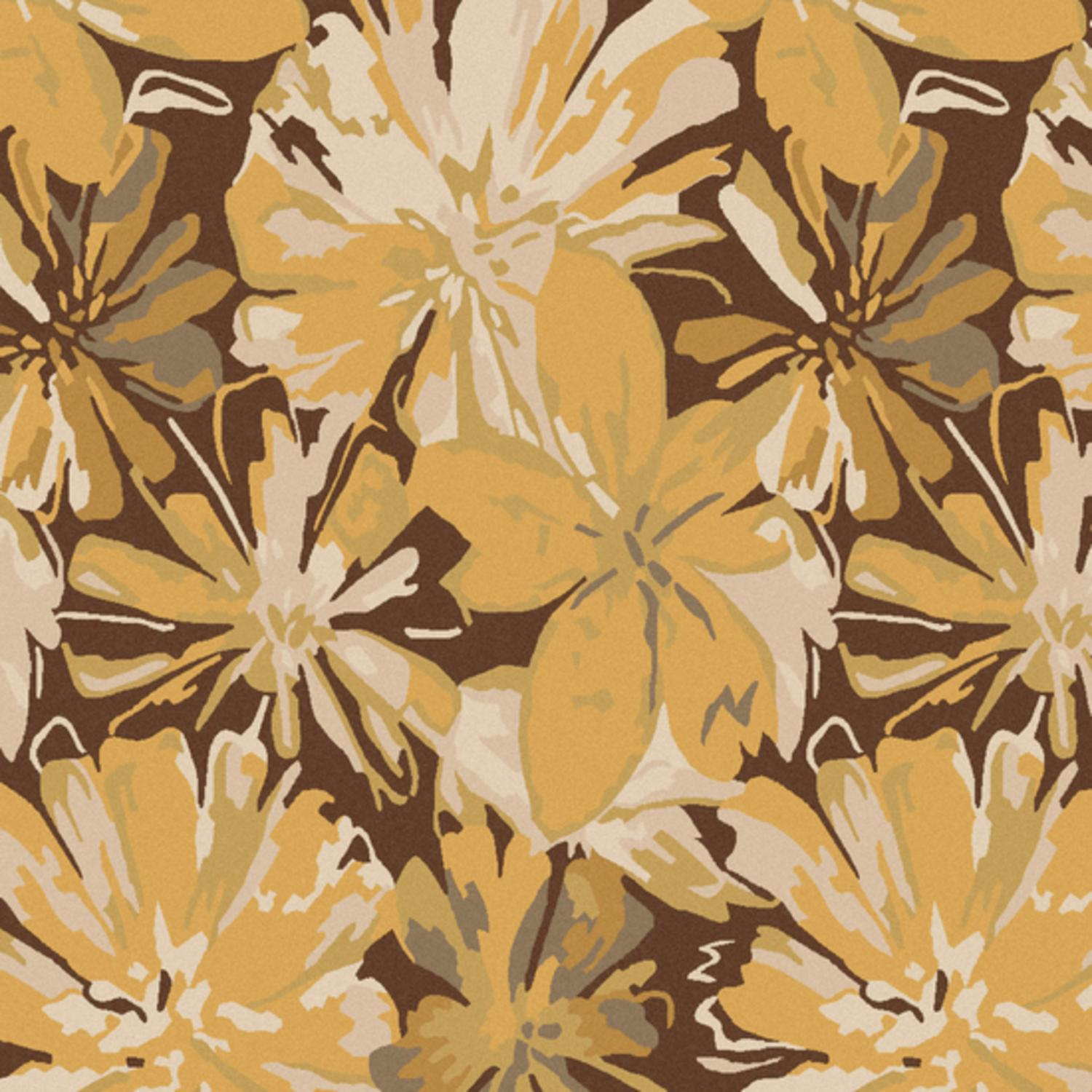 9' x 9' Daisy Dream Gold and Gray Hand Tufted Square Wool Area Throw Rug