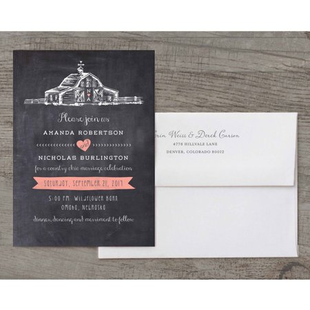 Country Wedding Invitations (Country Chic Barn Deluxe Wedding Invitation )