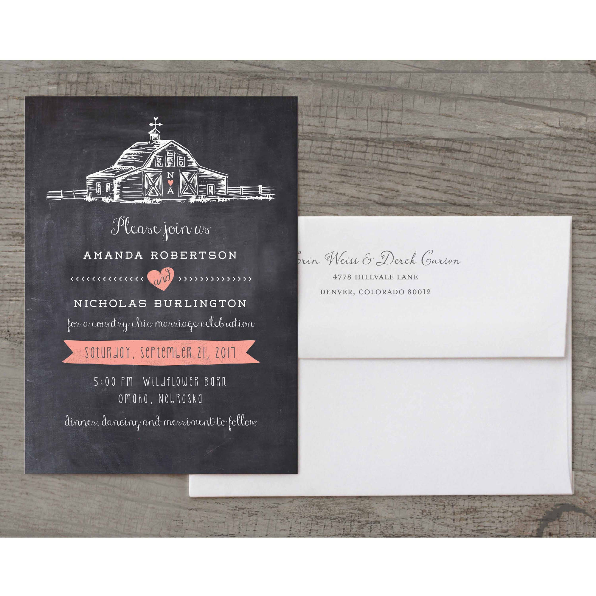 Country Chic Barn Deluxe Wedding Invitation