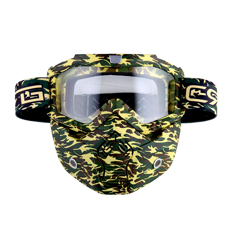 Motorcycle Goggles Mask, Detachable for Motocross Helmet Goggles use, Tactical Airsoft Goggles Mask: Green Camo with... by