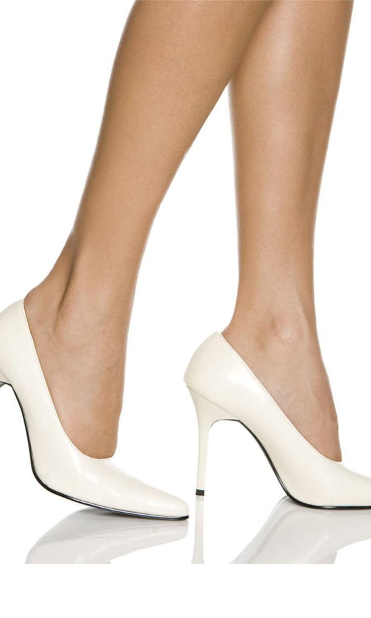 "Women's Highest Heel Shoes 4"" Classic Plain Pump - White Kid PU"