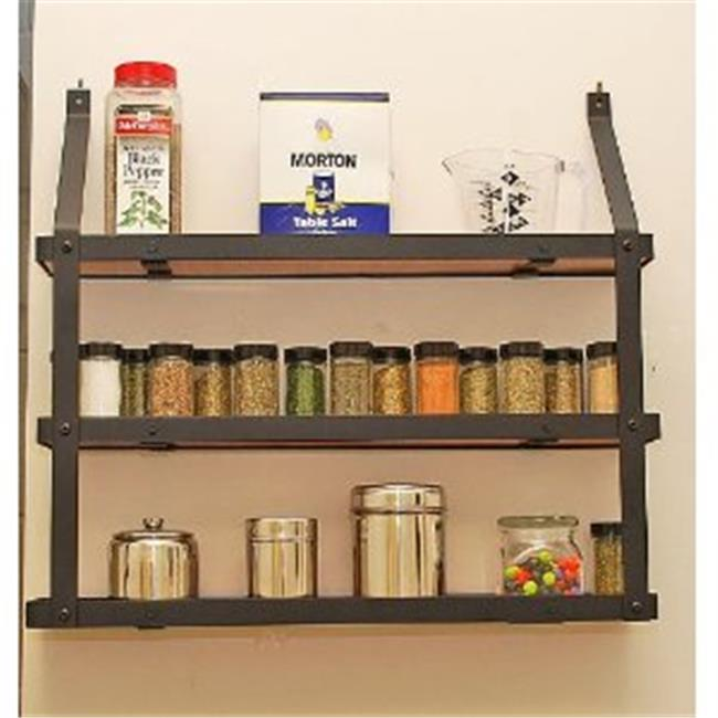 Rogar International 7505 3-Tier Spice Rack - Black And Lacquered Natural Wood