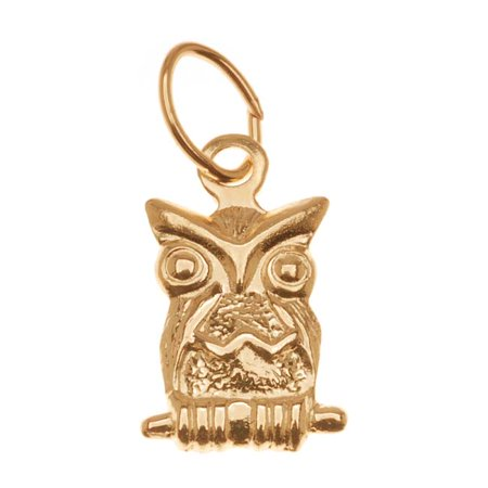 14K Gold Filled Charm, Perched Owl with Jump Ring 11mm, 1 Piece 14k Gold Filled Jump Rings