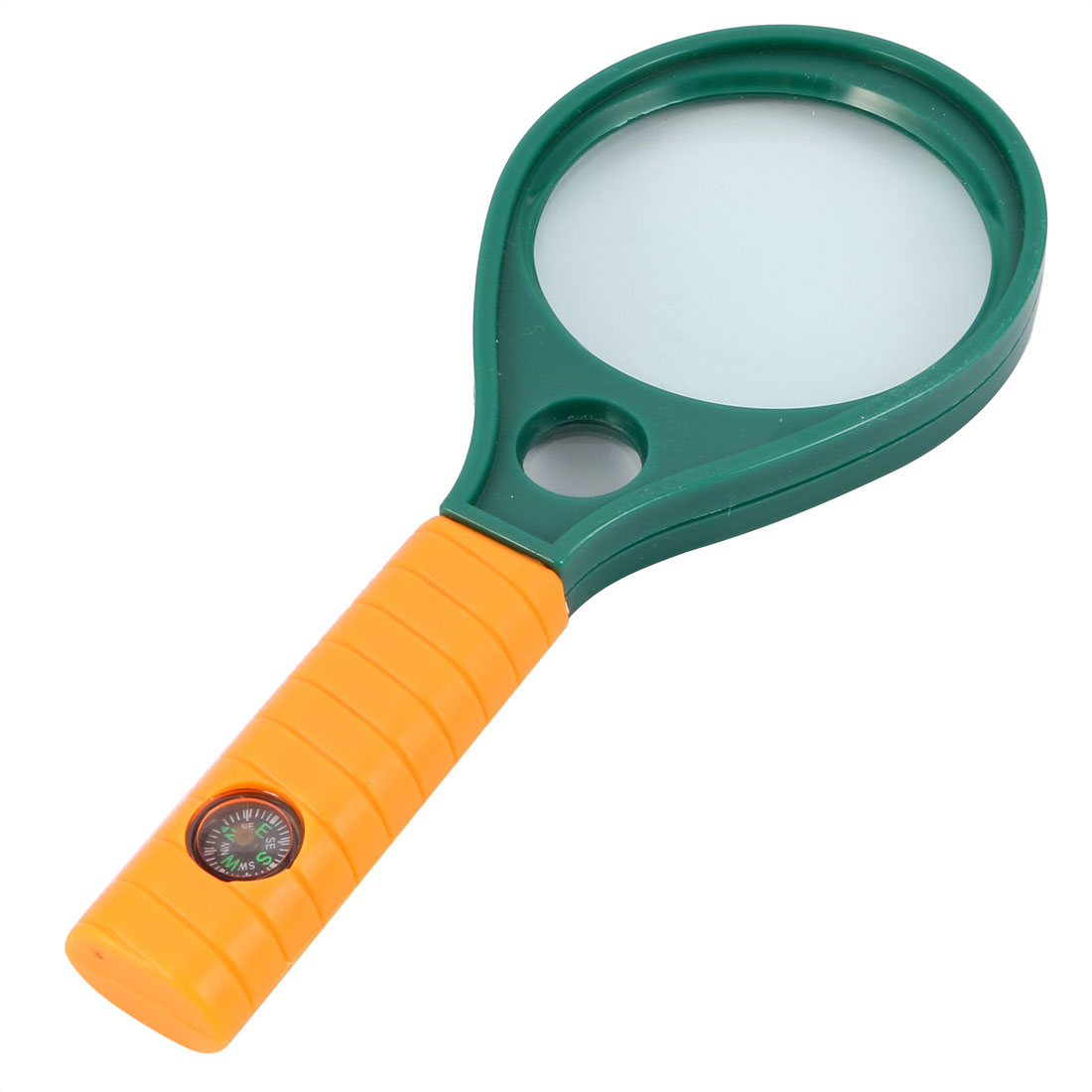 Handheld Magnifying Glass Reading Book Illuminated Magnifier 3X 8X w Compass