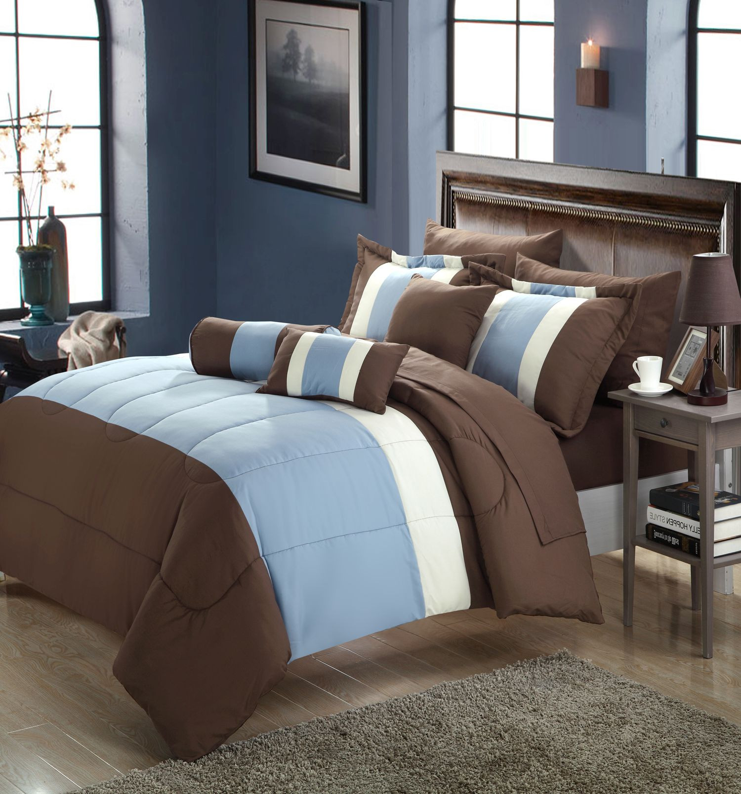 Serenity Blue & Brown King 10 Piece forter Bed In A Bag Set