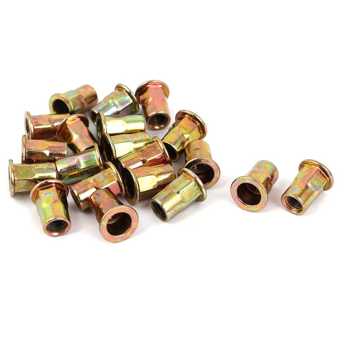 M6 Flat Head Metal Rivet Nut  Insert Nutsert Gold Tone 20pcs