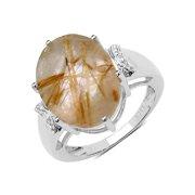 Malaika  .925 Sterling Silver 9.42 Carat Genuine Golden Rutile & White Topaz Ring - Yellow