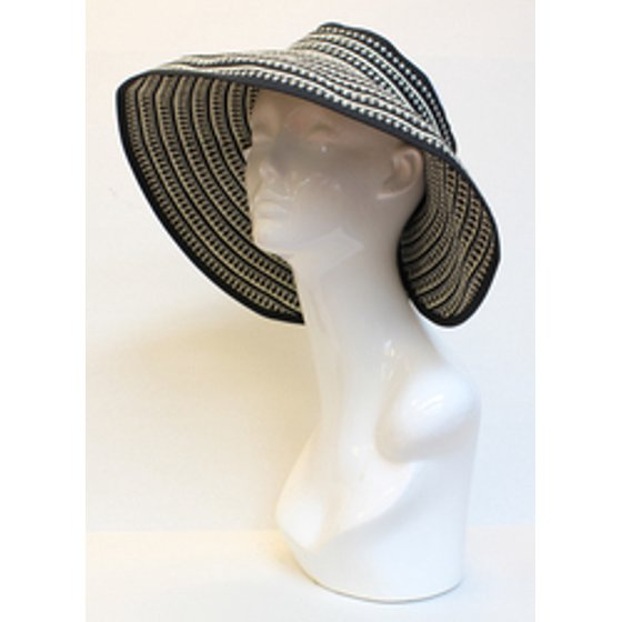 86c8944bebdb4 BSB - Ladies Summer Pink Ribbon Striped Packable Roll-Up Wide Brim Sun  Visor Hat - Walmart.com