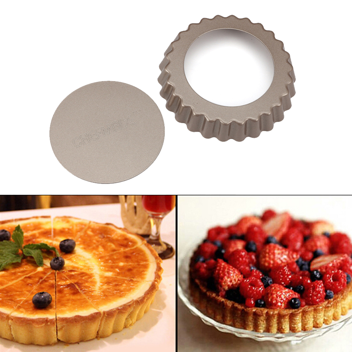 "4"" Pie Pan Mold Baking Removable Bottom Nonstick Round Cake Removable  Heart Shape Option by"