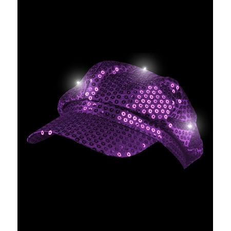 LED Sequin Newsboy Hat - Purple](Sequin Hats)