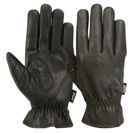 MRX Men's Front Cuff Driving Gloves Basic Soft Outdoor Glove Goat Leather Full Finger, Black (Medium)