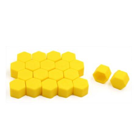 20pcs 19mm Yellow Luminous Silicone Auto Car Wheel Lug Nut Bolt Hub Screw Cover