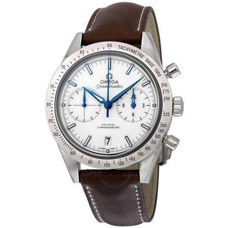 Omega Speedmaster 57 Chronograph White Dial Brown Leather Mens Watch 33192425104001 Omega Speedmaster Mens Chronograph
