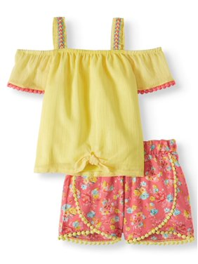 52fd4807a Product Image Forever Me Tie Front Top and Printed Shorts, 2oc Outfit Set  (Toddler Girls)
