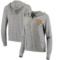 West Virginia Mountaineers Women's Brushed Super Soft Tri-Blend Full-Zip Hoodie - Heathered Gray