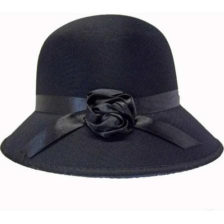 Ladies Black Satin Cloche Hat - Walmart.com c04642ef726