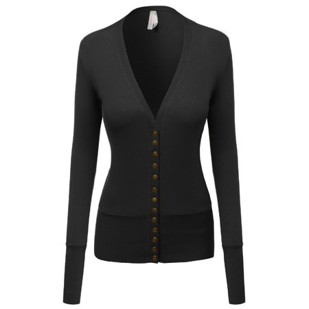 FashionOutfit Women's Solid Deep V-Neck Button Down Closure Cardigan