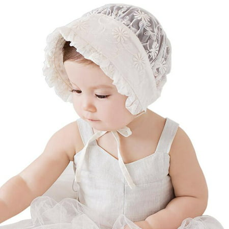 Cotton Lace Bonnet (Infant Newborn Baby Girls Kids Lace Hat Cap Beanie Bonnet Hats Hair Accesorries )