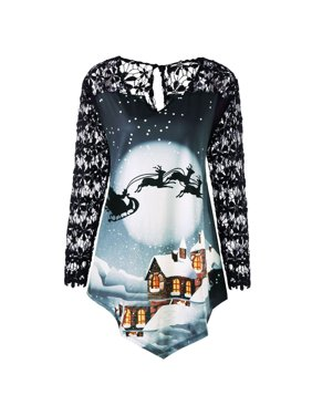 71bfdd901d59b Product Image Mosunx Women Merry Christmas Plus Size Printed Lace Patchwork  Asymmetrical T-shirt Tops