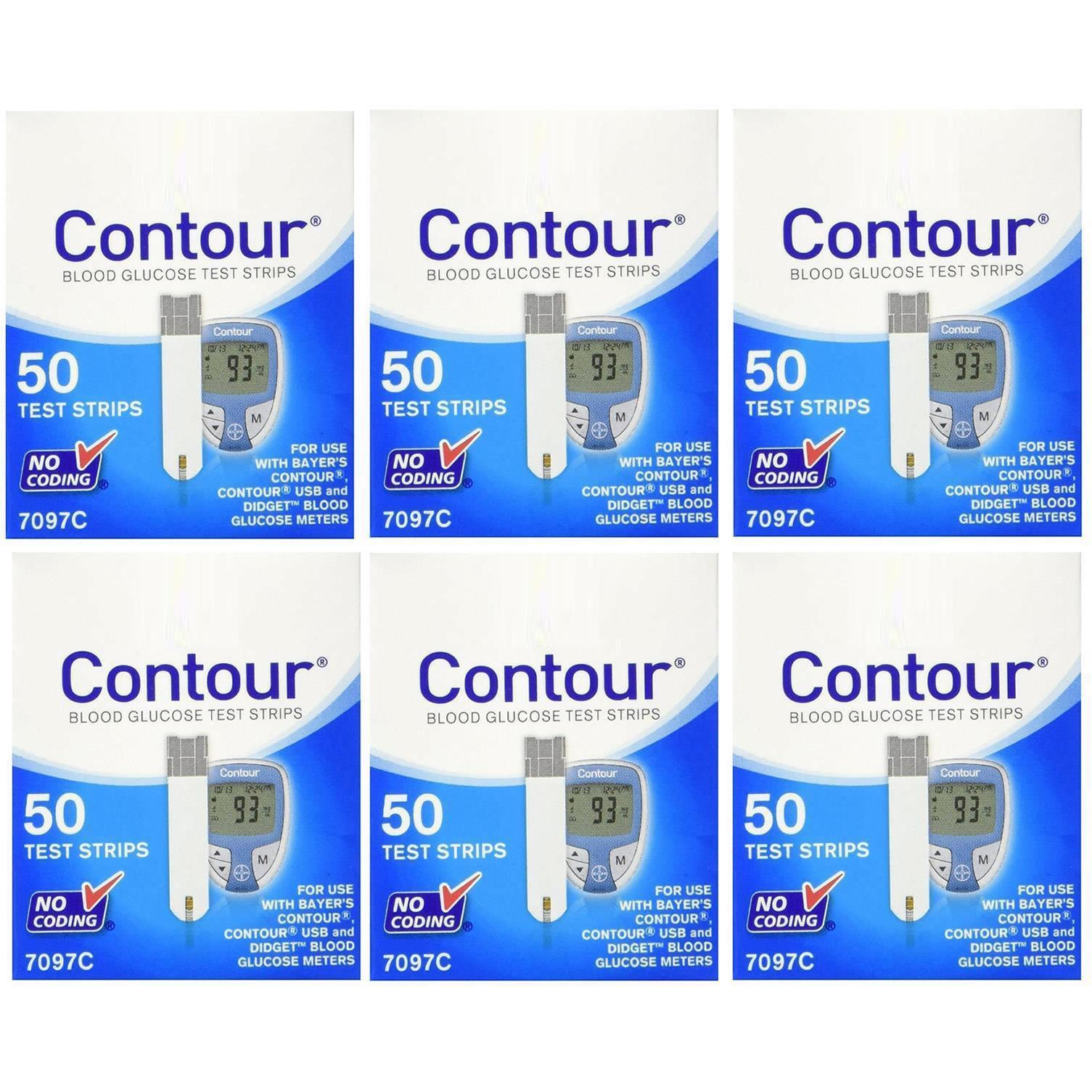 Bayer Contour Diabetic Test Strips 50ct 6PK 300qty for Glucose Meter 7097C