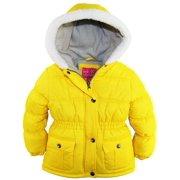 Pink Platinum Toddler Girls Sherpa Trim Hood Solid Puffer Winter Snow Jacket Coat size 2T
