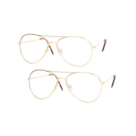 Gravity Shades Clear Lens Aviator Sunglass, Gold 2 Pack - Shades Glasses