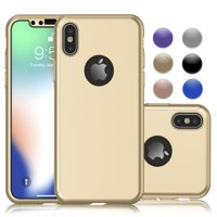 Cases For Apple iPhone XS Max / iPhone XS / iPhone XR / iPhone X, Njjex Ultra Thin Hard Slim Case Full Protective With Tempered Glass Screen Protector Case Cover -Rose Gold