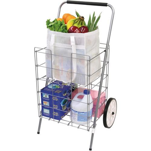 2 Wheel Folding Shopping Cart W Folding Shelf Silver