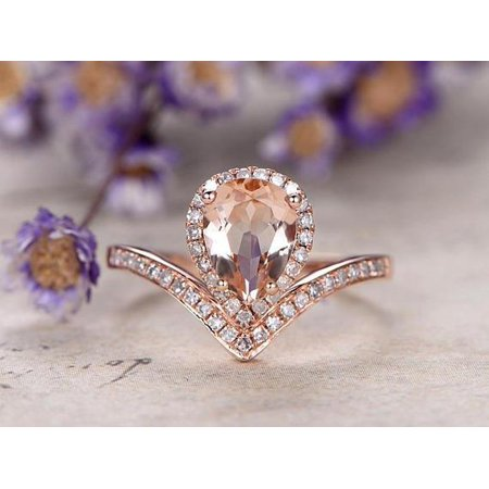 Jeenmata Pear Cut Unique Morganite And Diamond Engagement Ring In Rose Gold Walmart Com