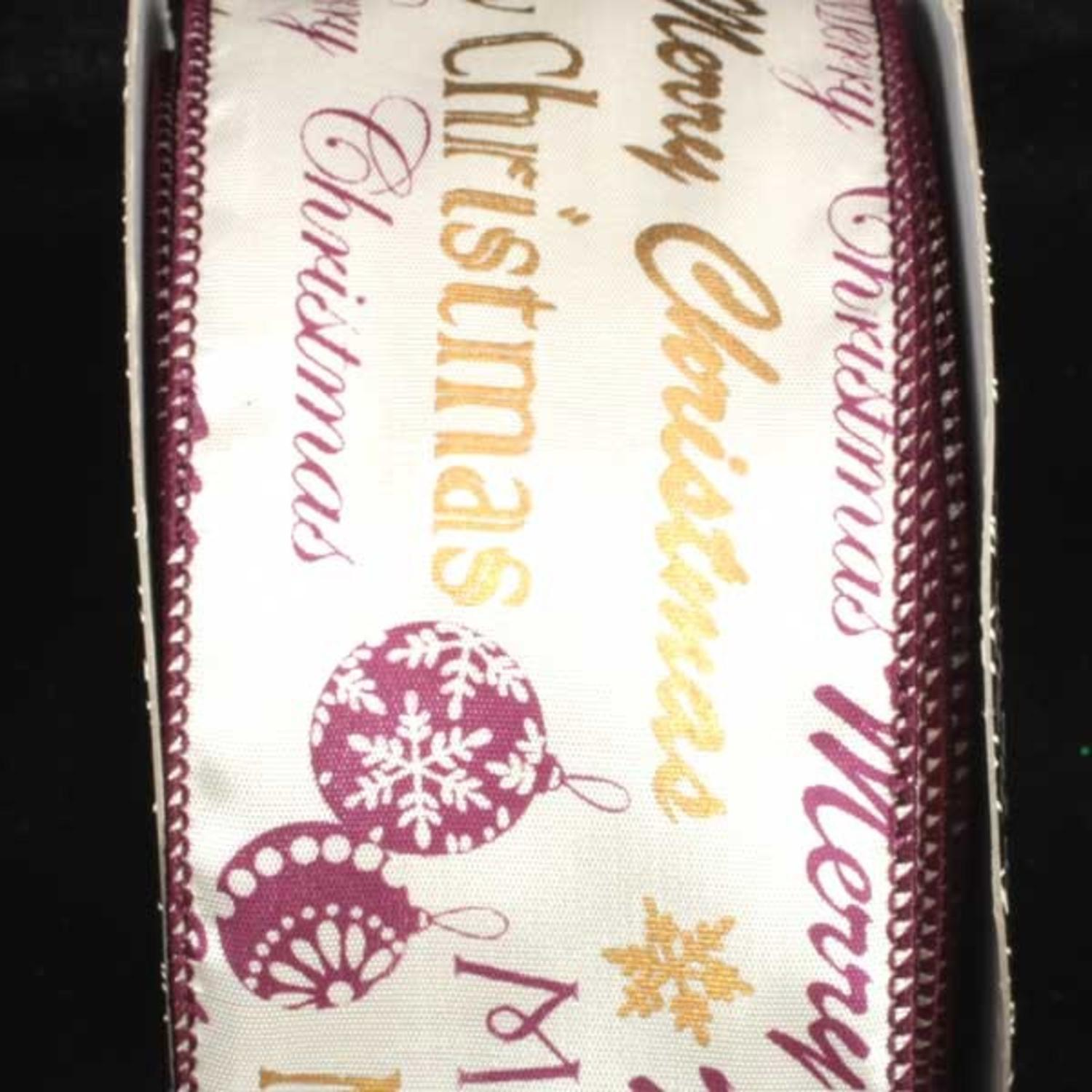 "Merry Christmas Printed Purple/Gold & White Wired Craft Ribbon 2.5"" x 40 Yards"