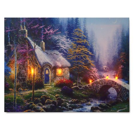 Landscape Canvas Prints (LED House Landscape Lighted Canvas Picture Print Home Wall Art Hanging)