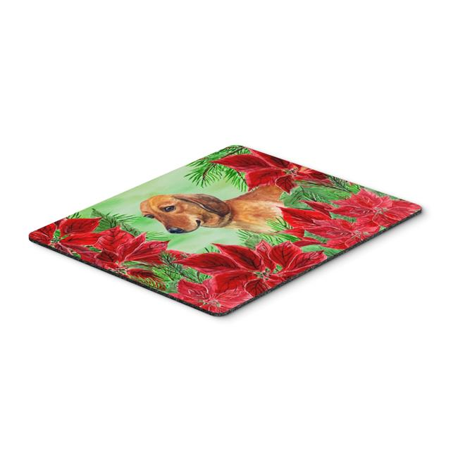 Dachshund Poinsettas Mouse Pad, Hot Pad or Trivet