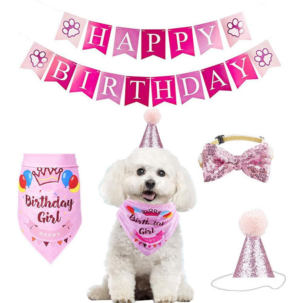 Blush Pink Birthday Birthday Girl Boy Dog Bandana Tie On Bandana NEW Happy Birthday Dog Bandana