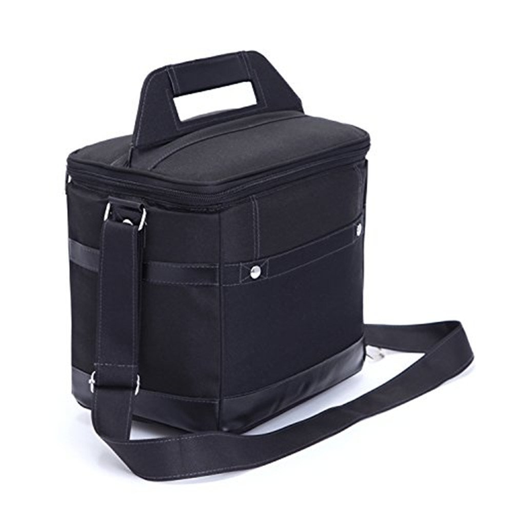 Wendana Insulated Lunch Bag Tote Black Food Handbag lunch box with Shoulder Strap For Men Work Outdoor