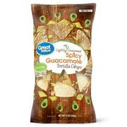 Great Value Thin & Crispy Spicy Guacamole Lightly Seasoned Tortilla Chips, 13 oz