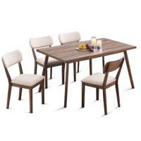 Costway 5 Pcs Dining Table Set Wooden Frame Desk & 4 Fabric Upholstered Chair Kitchen