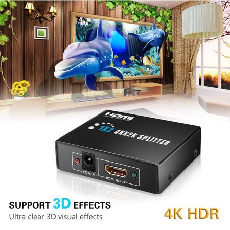 Ultra HD 4Kx2K HDMI Splitter 1 in 2 Out Amplifier 1x2 Signal Distributorwith 1080P 3D Compatibility Antenna STB Television Wall Antenna Satellite Receiver
