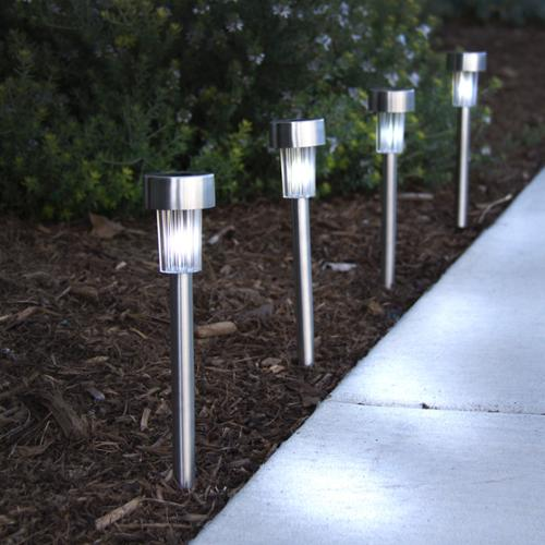 24 White Color Solar Power Stainless Steel LED Lights Pathway Landscape Garden
